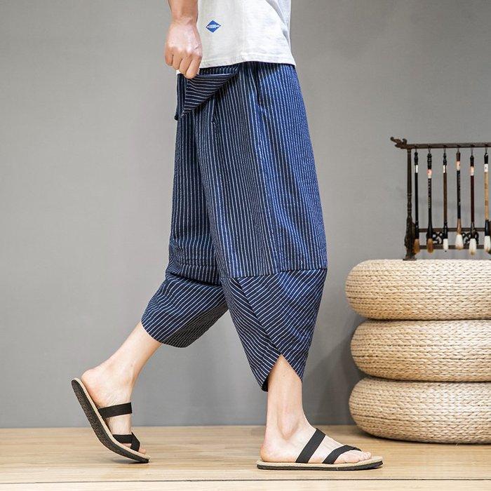 夏季棉麻條紋七分褲