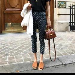 黑色點點顯瘦小腳褲九分褲