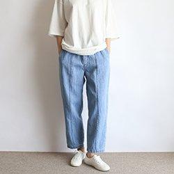 正韓雙口袋棉麻夏季牛仔褲