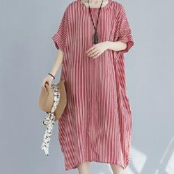 日系棉麻條紋印花寬鬆短袖連身裙