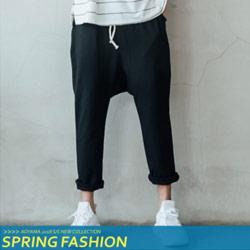 日系原創低襠寬鬆哈倫褲