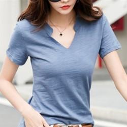 韓系百搭素面V領T恤上衣