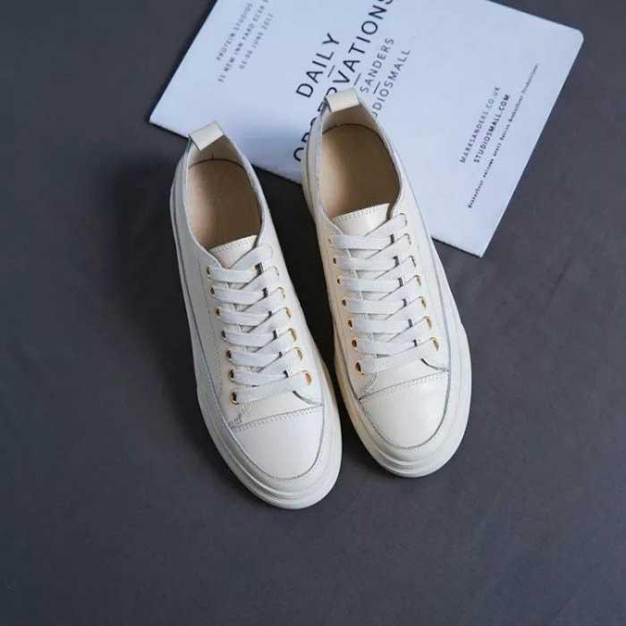 真皮金屬環厚底小白鞋