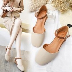 超好穿優雅中粗跟包頭涼鞋