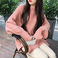 寬鬆純色長袖毛衣