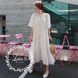 韓國寬鬆簍空休閒洋裝