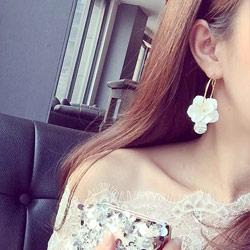 立體花朵水晶鋯石耳環