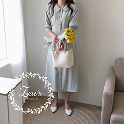 韓國復古款排扣洋裝