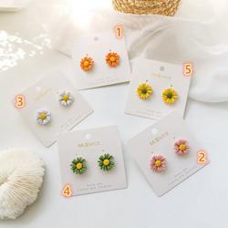 立體彩色花朵耳環