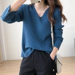 坑條V領針織衫