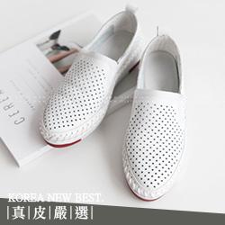 真皮透氣洞洞沖孔舒適休閒鞋