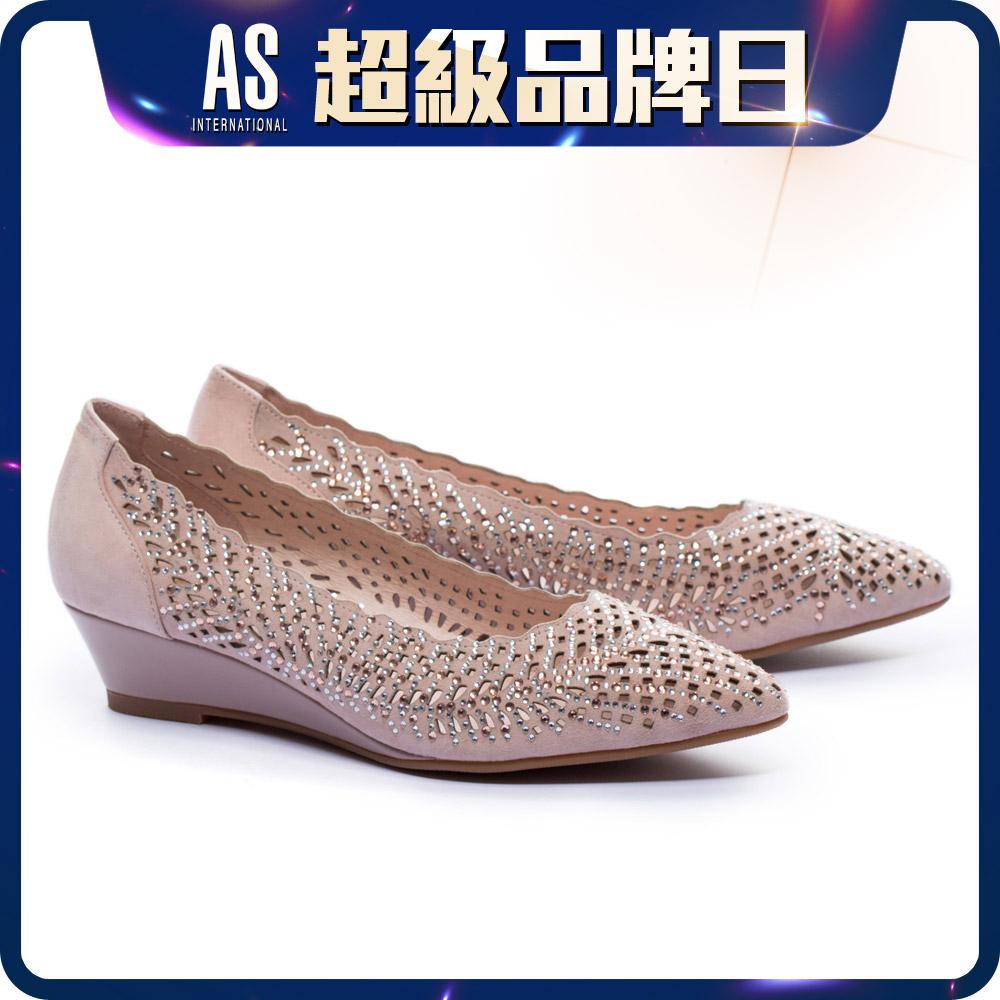 鏤空羊麂皮尖頭楔型鞋