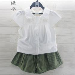 刺繡排扣小包袖雪紡衫+格紋梭織短褲