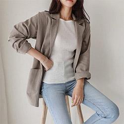 韓系棉麻西裝外套