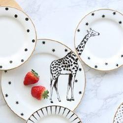 描金動物甜點盤