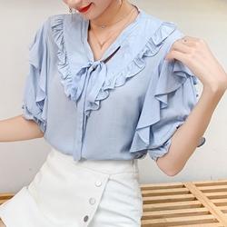 韓設計荷葉邊雪紡襯衫