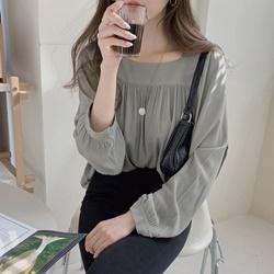 浪漫方領純色燈籠袖襯衫