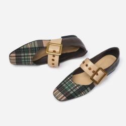 經典格子真皮瑪莉珍鞋