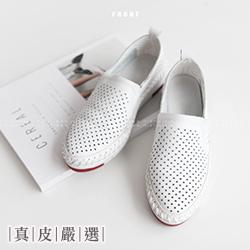 真皮洞洞特殊縫邊舒適休閒鞋