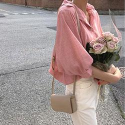 輕薄燈籠袖五分袖寬鬆襯衫