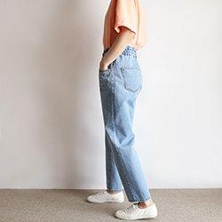 正韓夏季薄款鬆緊腰帶牛仔褲