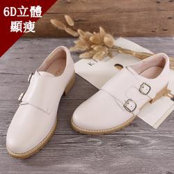 經典設計視覺顯瘦3kg真皮孟克鞋