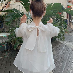 日系燈籠袖光澤薄紗蝴蝶結襯衫