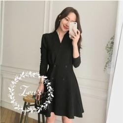韓國秋裝收腰排扣洋裝