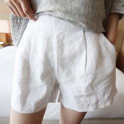 極簡顯瘦打摺修身棉麻短褲