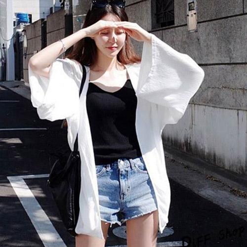 韓版寬鬆中長版防曬外套 披肩 防曬衣