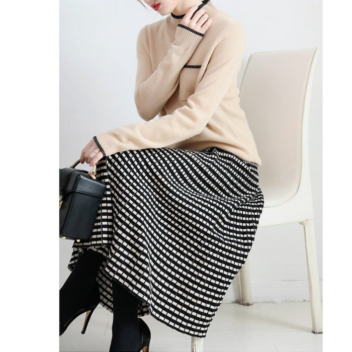 夾亮色小格垂感A字羊毛針織傘裙