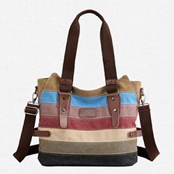 民族風條紋帆布手提包