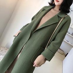 韓國芥末綠70%雙面羊毛外套