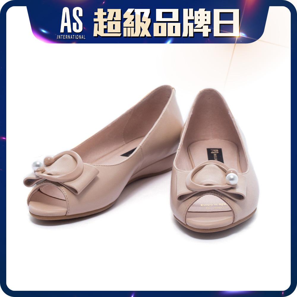 珍珠飾釦魚口楔型鞋