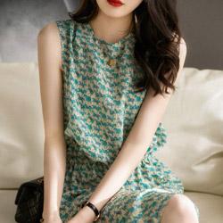 清涼印花無袖小洋裝