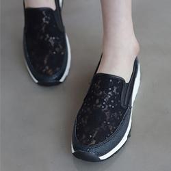 氣質透氣蕾絲趁亮片+氣墊懶人鞋