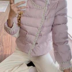 名媛小香風粉紫色珍珠串珠鋪棉外套