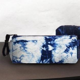 藍蠟染、藍紮染 筆袋