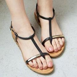 簡約金屬釦真皮T字夾腳涼鞋
