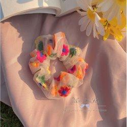 夏日陽光刺繡花朵歐根紗髮圈