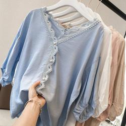 V領鉤花珍珠釦五分袖雪紡衫