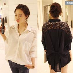 韓系蕾絲肩襯衫