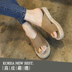 韓國真麂皮交叉寬帶草編拖鞋