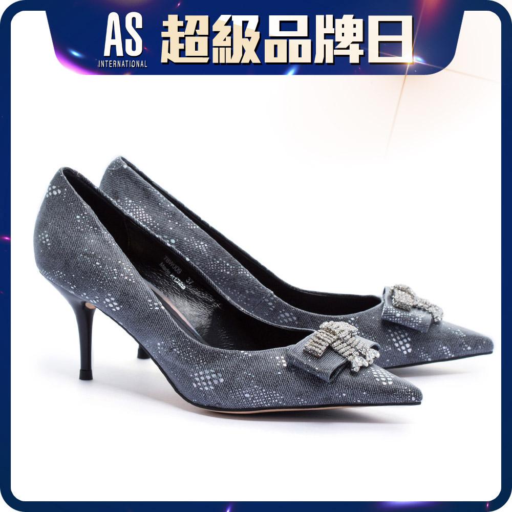 水鑽飾釦高跟鞋
