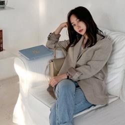 韓國早秋復古百搭格紋西裝外套