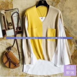 當然要買不一樣_撞色V領針織長袖襯衫