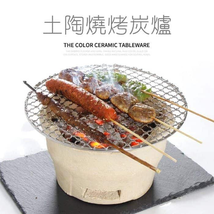 老式陶土烤爐 木炭小爐 烤肉爐 料理燒烤