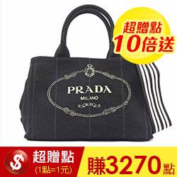 【PRADA】LOGO帆布手提/斜背二用包