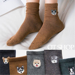 表情笑臉刺繡中性短襪
