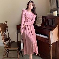 法式復古綁帶坑條紋針織連身裙